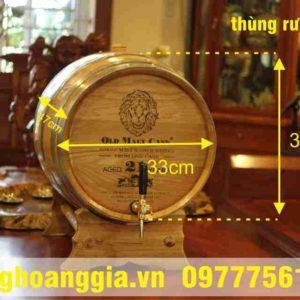 Thùng rượu gỗ sồi 30l lắp vòi mạ crom cao cấp